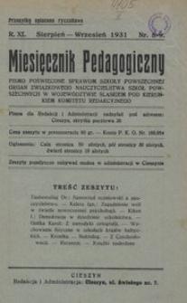 Miesięcznik Pedagogiczny, 1931, R. 40, nr 8-9