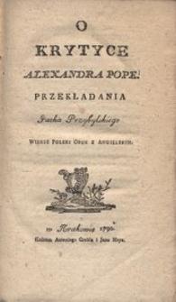 O Krytyce Alexandra Pope Przekładania Jacka Przybylskiego