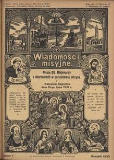 Wiadomości Misyjne, 1937, R. 47, nr 7