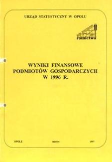 Wyniki finansowe podmiotów gospodarczych w 1996 r.