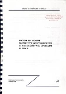 Wyniki finansowe podmiotów gospodarczych w województwie opolskim 2004 r.