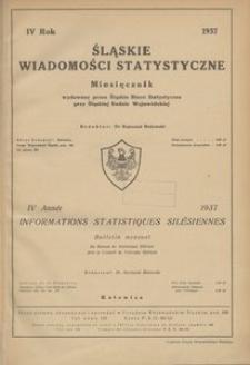Śląskie Wiadomości Statystyczne, 1937, R. 4, Spis Rzeczy