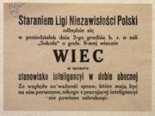 [Zawiadomienie]. Liga Niezawisłości Polski