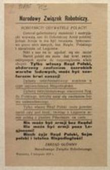 Robotnicy! Obywatele Polacy! Warszawa, 9 listopada 1916 r. Narodowy Związek Robotniczy