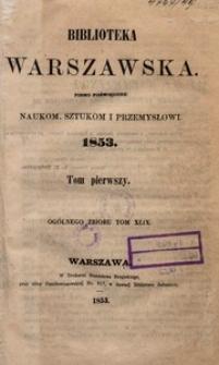 Biblioteka Warszawska, 1853, T. 1