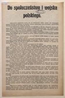 Do społeczeństwa i wojska polskiego. Liga Państwowości Polskiej. Warszawa, d. 14 października 1916 r.