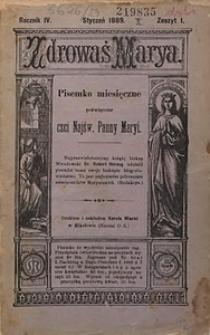 Zdrowaś Marya, 1889, R. 4, nr1