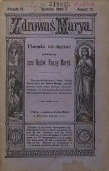 Zdrowaś Marya, 1889, R. 4, nr12