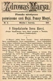 Zdrowaś Marya, 1891, R. 6, nr6