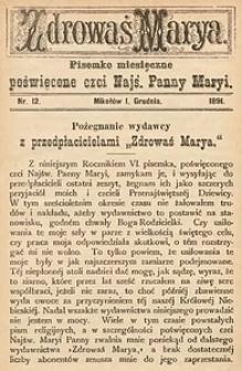 Zdrowaś Marya, 1891, R. 6, nr12