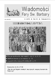Wiadomości Fary Św. Barbary, R. 16, nr 45 (791), 2010