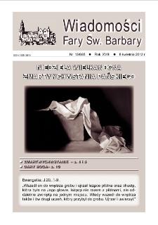 Wiadomości Fary Św. Barbary, R. 18, nr 15 (865), 2012