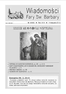 Wiadomości Fary Św. Barbary, R. 18, nr 46 (896), 2012