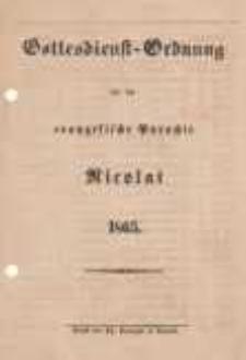 Gottesdienst-Ordnung für die evangelische Parochie Nicolai 1865