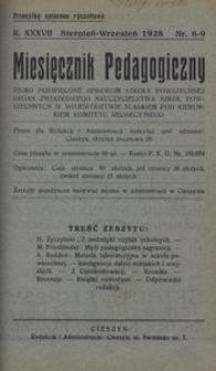 Miesięcznik Pedagogiczny, 1928, R. 37, nr 8/9