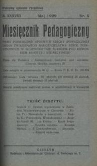 Miesięcznik Pedagogiczny, 1929, R. 38, nr 5