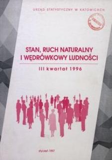 Stan, ruch naturalny i wędrówkowy ludności, 3 kwartał 1996