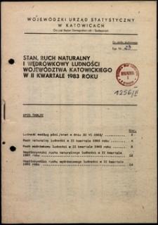Stan, ruch naturalny i wędrówkowy ludności województwa katowickiego w 2 kwartale 1983 roku
