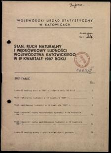 Stan, ruch naturalny i wędrówkowy ludności województwa katowickiego w 4 kwartale 1987 roku