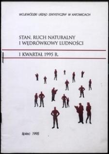Stan, ruch naturalny i wędrówkowy ludności. 1 kwartał 1995 r.