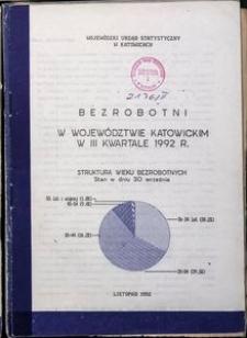 Bezrobotni w Województwie Katowickim w 3 Kwartale 1992 R.