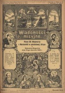 Wiadomości Misyjne, 1936, R. 46, nr 1