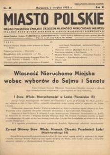 Miasto Polskie. Organ Polskiego Związku Zrzeszeń Własności Nieruchomej Miejskiej. Rocznik XI. Rok 1935, nr 31