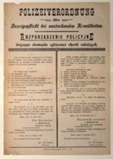 Rozporządzenie Policyjne dotyczące obowiązku zgłaszania chorób zakaźnych. Kutno, dnia 12 stycznia 1916 r.