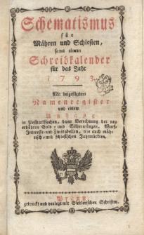 Schematismus für Mähren und Schlesien, samt einem Schreibkalender für das Jahr 1793