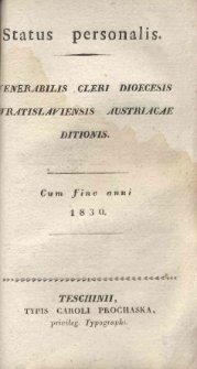 Status personalis venerabilis Cleri Dioecesis Wratislaviensis Austriacae ditionis, 1830