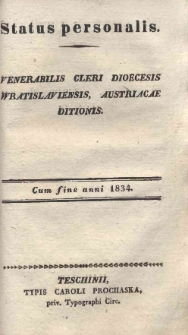 Status personalis venerabilis Cleri Dioecesis Wratislaviensis Austriacae ditionis, 1834
