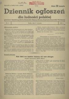 Dziennik Ogłoszeń Dla Ludności Polskiej, 1943, nr 1