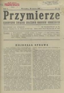 Przymierze. czasopismo Związku Zbliżenia Narodów Odrodzonych 1921, nr 11