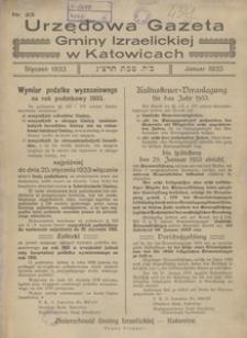 Urzędowa Gazeta Gminy Izraelickiej w Katowicach, 1933, nr 23