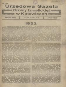 Urzędowa Gazeta Gminy Izraelickiej w Katowicach, 1933, nr 24
