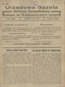 Urzędowa Gazeta Gminy Izraelickiej w Katowicach, 1933, nr 26