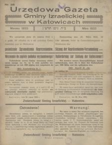Urzędowa Gazeta Gminy Izraelickiej w Katowicach, 1933, nr 28