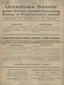Urzędowa Gazeta Gminy Izraelickiej w Katowicach, 1933, nr 29