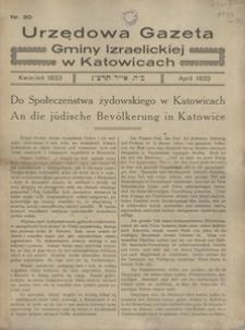 Urzędowa Gazeta Gminy Izraelickiej w Katowicach, 1933, nr 30