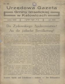 Urzędowa Gazeta Gminy Izraelickiej w Katowicach, 1933, nr 35