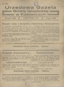 Urzędowa Gazeta Gminy Izraelickiej w Katowicach, 1933, nr 38