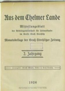 Inhaltsverzeichnis [Aus dem Chelmer Lande 1926]