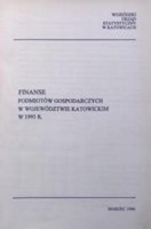 Finanse podmiotów gospodarczych w województwie katowickim w 1993 r.
