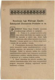 Rezolucje I-go Walnego Zjazdu Założycieli Zrzeszenia Polaków. Warszawa, w maju 1919 roku