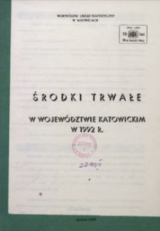 Środki trwałe w województwie katowickim w 1992 r.