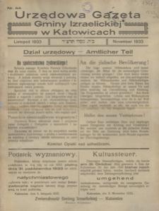Urzędowa Gazeta Gminy Izraelickiej w Katowicach, 1933, nr 44