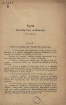 Statut Towarzystwa Naukowego we Lwowie