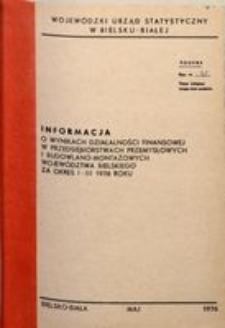 Informacja o wynikach działalności finansowej w przedsiębiorstwach przemysłowych i budowlano-montażowych województwa bielskiego za okres I-III 1976 roku