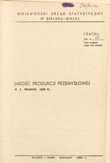 Jakość produkcji przemysłowej w I półroczu 1980 r.