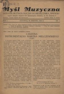 Myśl Muzyczna, 1928, R. 1, nr 1